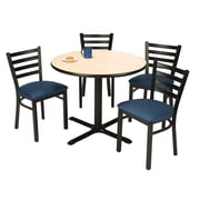 """KFI 36"""" Round Natural HPL Table with 4 Navy Vinyl Cafe Chairs (36R025NAIM316NV)"""