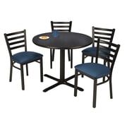 "KFI 36"" Round Graphite Nebula HPL Table with 4 Navy Vinyl Cafe Chairs (36R025GRIM316NV)"