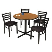 "KFI 36"" Round Medium Oak HPL Table with 4 Black Vinyl Cafe Chairs (36R025MOIM316BV)"