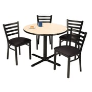 """KFI 42"""" Round Natural HPL Table with 4 Black Vinyl Cafe Chairs (42R025NAIM316BV)"""
