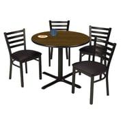 "KFI 42"" Round Walnut HPL Table with 4 Black Vinyl Cafe Chairs (42R025WLIM316BV)"