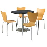 "KFI 42"" Round Graphite Nebula HPL Table with 4 Natural Bentwood Cafe Chairs (42R192SGR3888NA)"