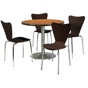 "KFI 42"" Round Medium Oak HPL Table with 4 Espresso Bentwood Cafe Chairs (42R192SMO3888ES)"