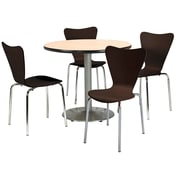 "KFI 42"" Round Natural HPL Table with 4 Espresso Bentwood Cafe Chairs (42R192SNA3888ES)"