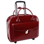 McKlein USA Granville L Series Red Top Grain Leather Wheeled Ladies Laptop Case (96146A)