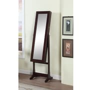 Artiva USA Home Deluxe Floor Standing Jewelry Armoire with Mirror; Walnut