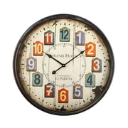 AdecoTrading 20.1'' Retro Round Faux Wood Chip Numbers ''Grand Hotel'' Wall Hanging Clock