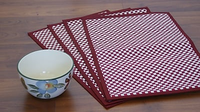Leaf Fiber Vaayil Handmade Talipot Checkered Placemat Set of 4
