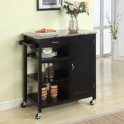InRoom Designs Kitchen Cart with Faux Marble Top; Black