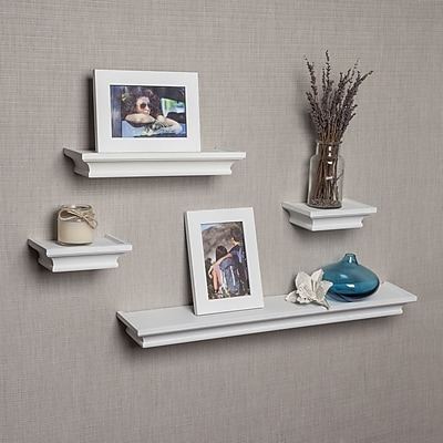 DanyaB Cornice 4 Piece Floating Shelf Set; White