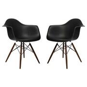 eModern Decor Scandinavian Arm Chair (Set of 2); Black