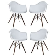 eModern Decor Scandinavian Arm Chair (Set of 4); Light Gray