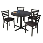 "KFI 42"" Round Graphite Nebula HPL Table with 4 Black Vinyl Cafe Chairs (42R025GRIM316BV)"