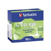 Verbatim® 95170 700MB CD-RW Rewritable Media, Slim Case, 10/Pack