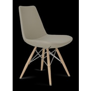 sohoConcept Eiffel MW Wood Side Chair; Black Genuine Leather