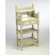 AA Importing 2 Shelf Stand with Drawer and Mirror; Parchment