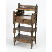 AA Importing 2 Shelf Stand with Drawer and Mirror; Walnut