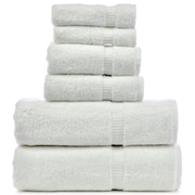 Bare Cotton Luxury Hotel and Spa Turkish Cotton Dobby 6 Piece Bath Towel Set; White