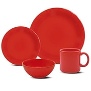 Oxford Porcelain Daily 16 Piece Dinnerware Set; Red