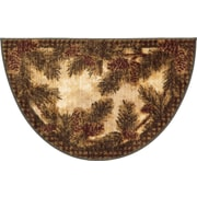 Mayberry Rug Cozy Cabin Pine Cone Gingham Mat; Wedge 1'7'' x 2'7''