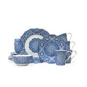 222 Fifth Lyria 16 Piece Dinnerware Set in Blue