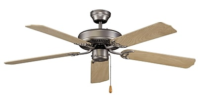 Royal Pacific 52'' Royal Knight 5 Blade Fan; Brushed Pewter with Natural Maple Blades WYF078278584794