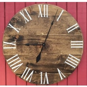 essex hand crafted wood products 30'' Stained Wood Wall Hanging Clock