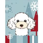 Caroline's Treasures Winter Holiday White Poodle Vertical Flag