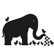 WallCandy Arts Baby Elephant Chalkboard Wall Decal