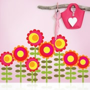 WallCandy Arts Nature Happy Flowers Wall Decal (Set of 8)