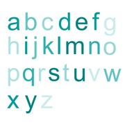 WallCandy Arts Ombre Alphabet Wall Decal; Teal
