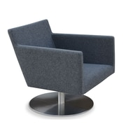 sohoConcept Harput Swivel Lounge Arm Chair; Dark Gray Wool Camira Wool