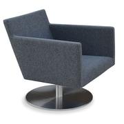 sohoConcept Harput Swivel Round Arm Chair; Furni-Soft Leatherette - Light Grey