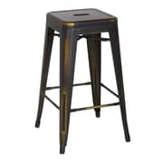 New Pacific Direct Metropolis Metal Backless Counter Stool (Set of 4); Distressed Copper