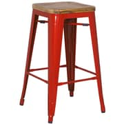 New Pacific Direct Metropolis Metal Backless Bar Stool with Wood Seat (Set of 4); Red