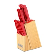 Ragalta 13 Piece Knife Set with Built-In Sharpener; Red