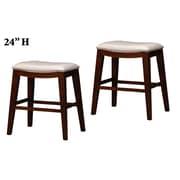 Wildon Home   24'' Bar Stool with Cushion (Set of 2); White