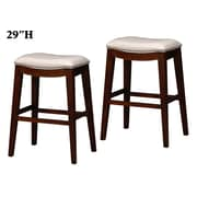 Wildon Home   29'' Bar Stool with Cushion (Set of 2); White