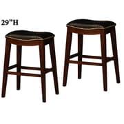 Wildon Home   29'' Bar Stool with Cushion (Set of 2); Black