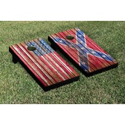 Victory Tailgate Confederate and US Flags Distressed Wood Cornhole Game Set