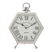 Woodland Imports Hexagon Table Clock; White/Silver