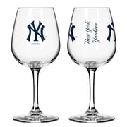 Boelter Brands MLB 12 Oz. Wine Glass (Set of 2); New York Yankees