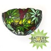 It's Exciting™ Lighting Smart Solar LED Stained Glass Half Moon Wall Sconce, Rain Forest (IELAMB3000)