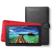 "Supersonic® SC-5407 7"" Tablet and Keyboard Case Bundle, 4GB, Android 4.4 KitKat, Red"