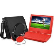"Ematic EPD909 Portable 9"" DVD Player with Matching Headphones and Bag, Red"