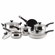 Farberware® 78649 New Traditions Stainless Steel Dishwasher Safe Non Stick 14-Piece Cookware Set, Silver