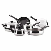 Farberware 78648 Stainless Steel Dishwasher Safe 12 Piece Cookware Set, Silver
