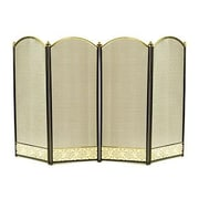 Panacea™ 4 Panel Fireplace Screen with Filigree, Black & Polished Brass (15908)