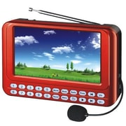 "QFX® PD-43 Portable System 4.3"" TFT Screen, USB/Micro-SD, FM Radio, Red"