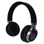 QFX® H252BT Stereo Bluetooth Over-the-Head Headphones with Mic and Disco Lights, Black